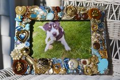 handmade dog mosaic picture frame, dog frame,  destash jewelry mosaic
