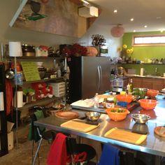 Cook LA cooking school Studio City - kitchen set up for gourmet Pizza night