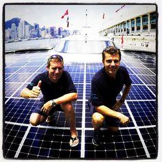 Planet Solar's founder Raphael Domjan and the skipper Erwann Le Rouzic.