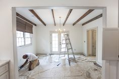 Ashley Gilbreath Home | Rustic Beams | Revere Pewter Gray Trim | White Dove Walls