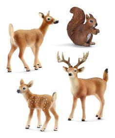 This Squirrel & Deer Figurine Set is perfect! #zulilyfinds