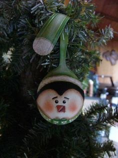 35 Penguin with Green Santa Hat Painted Spoon by SantaHeaven,