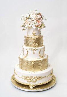 Golden 5 tiered cake