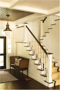 Entryway stairs - Trying to figure out what to put in front of our staircase that is practical as well as looks good... Maybe this?