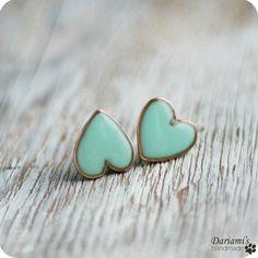 Tiffany blue heart stud earings
