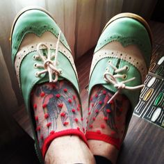 We love these mint kicks and see-through socks!