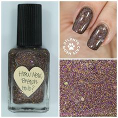 atlcatsmeow #lynnderella LE How Now, Brown Holo? is a brown and holographic microglitter with brown and gold accents in a clear base. Can you guess what was used to make the brown glitter? #lovelynnderella