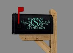 Mailbox Decal - Vinyl Lettering with Number and Street Address on Etsy, $12.00 mailbox decals, christmas, dmailbox decal, gifts, decal vinyl, number, mailbox decor, vinyl lettering, cricut