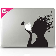 MACBook DECALS vinyl laptop stickers - Butterfly Girl - Wall Computer Geekery - Removable Decal 134
