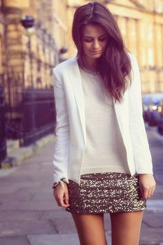 White blazer with a sequined skirt. One of *the best sequined skirt outfits! So classy and crisp!