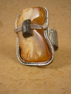 trapped amber ring by e-bu Jewelry,