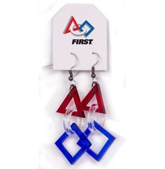 Show your FRIST support and be fashionable in these FIRST Logo Earrings! These are available @ the FIRST Online Store! http://first.epromo.com/Cool_Stuff/__FIRST_Logo_Acrylic_Earrings