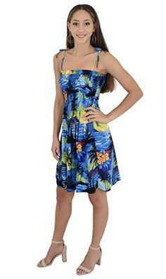 Ladies Tube Dress in BLUE SUNSET Hawaiian Print. Pretty summer dress for a bbq, cruise or luau party. Matching shirts available for men and matching dresses for girls #ladiesdress #tubedress #luaudress #springbreak #cruisedress #vacationdress #summerdress #hawaiiandress #floraldress #cruisewear #cruise #fashion #ladiesfashion #sunset #sunsetdress #luauparty #luaupartydress #tropicaldress