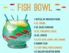 This would be fun just to make and take pictures of fish bowl, fun alcoholic drinks, adult beverages, summer parties, birthday drinks, beverag drink, fishbowl, drinks alcohol, fun adult drinks