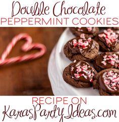 Double Chocolate Peppermint Cookies Recipe! Via Kara's Party Ideas KarasPartyIdeas.com #christmasparty #christmascookies #chocolatepeppermintcookies #blogherholidays