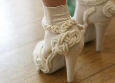 knit embellished shoes