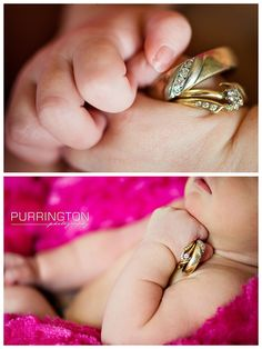 Fun and creative Ring shots photos ideas poses with newborn baby girl
