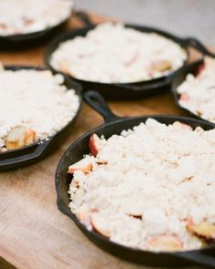 The caterers cooked apple crisp with fresh creme anglaise in skillets over the open fire.