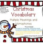 Free! Christmas Vocabulary multiple meanings/homophones…18 pages
