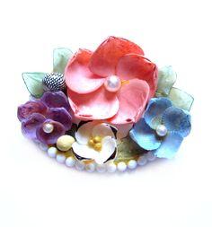 Vintage Seashell Art Brooch, Handmade Shell Flower Pin