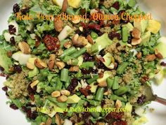"""Kale, Pear, Almond, Quinoa Chopped So much healthful deliciousness crammed into one bowl! """"Get Your Spoons Ready!"""""""