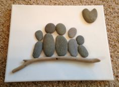 Beach Stone Artwork/ Pebble Art/ Canvas Art/ Collage-Family Custom Order
