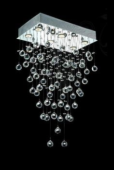 "Drops of Rain Design 6-Light 32"" Rectangular Chandelier Pendant with European, Swarovski, or Colored 30% Lead Crystals SKU# 13088"