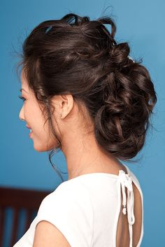natural curly updo for the bride
