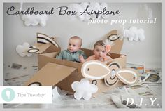 Tips Tuesday. How to Do It Yourself Cardboard Box Airplane Photography Prop.