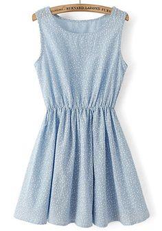 Blue Floral Sleeveless Cotton Mini Dress