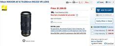 Nikkor 70-200mm f/4G ED VR lens available for pre-order