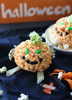Halloween pumpkins Jello popcorn ball recipe
