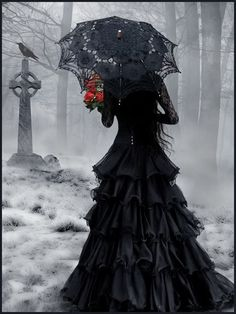 the raven, celtic crosses, gothic, dresses, umbrella