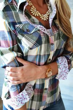 Adorable plaid shirt with contrasting floral cuffs