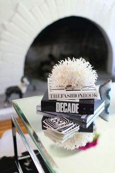 Black and white coffee table styled