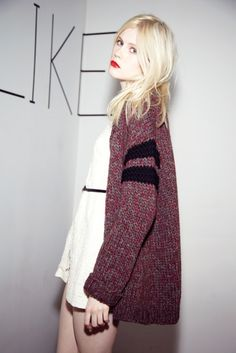 favorite fall trend CABIN-INSPIRED SWEATERS. loving the stripes with a simple white dress.