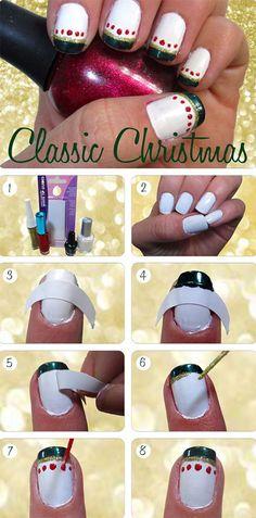 Easy-Step-by-Step-Polka-Dots-Nai-Art-Tutorials-Classis-Christmas