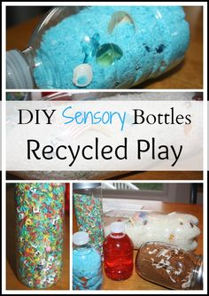 Recycled Sensory Bottles Turn Everyday Household Bottles Into DIY Sensory Play    Project: Recycle and Create!  This year, I have joined with a terrific team of bloggers to bring you Project: Recycle & Create! Each month we will be trying out a different recycled material from the ...