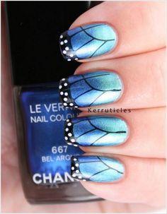 Metallic Blue Nails