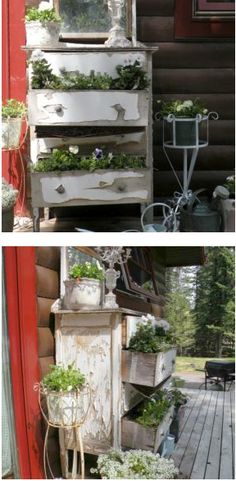 Repurpose: Old shabby dresser as a planter. (Plastic liner recommended.)