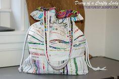 sew, idea, diari, crafti ladi, totebag, drawstr tote, tote bags, selvag edg, edg fabric