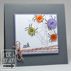 "Cute ""EEK AGAIN"" Halloween Card...with ""button"" spiders!  Snappy Stampin' w/Arielle."