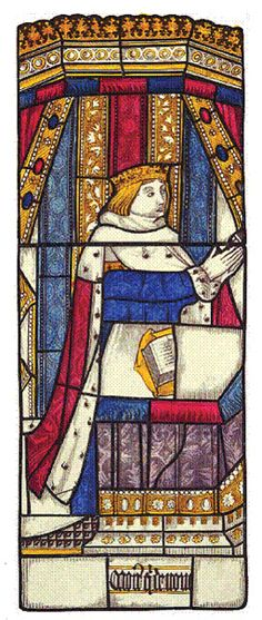 'Richard, Duke of York stained glass design at Little Malvern Church, Worcestershire, England, produced in the 15th century,   via Flickr.