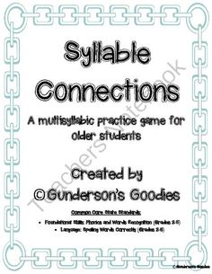 Syllable Connections - A Multisyllabic Word Game from Gundersons Goodies on TeachersNotebook.com -  (11 pages)  - A fun game to help your students decode and learn multisyllabic words by using high frequency syllables to create words!