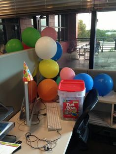 """""""It's always a birthday celebration at our lead graphic designer's desk! #myawesomedesk"""""""