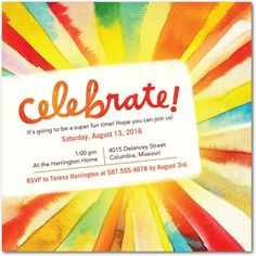 Sunray Celebration - Party Invitations - Hallmark - Blaze - Orange | www.TinyPrints.com