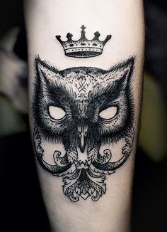 ink art, ien levin, black cats, crown, a tattoo, tattoo ink, owls, art tattoos, owl tattoos
