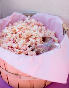 Pink white chocolate popcorn for princess party. Pinning for future possible party ideas for my princess party favors, birthday parti, gender reveal parties, party snacks, chocol popcorn, white chocolate, princess parti, princess party, parti idea