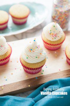 Birthday Vanilla Cupcakes from thelittlekitchen.net