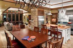 kitchens, decor, hous design, open design, stone